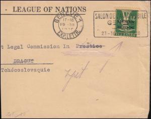 Völkerbund (SDN) 30x Tellknabe auf Briefstück GENF Automobilsalon 19.3.1930