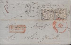 5 Ziffer 2 Gr. senkrechtes Paar Auslandsbrief NEUSS AUSG. 9.4.1871 in die USA