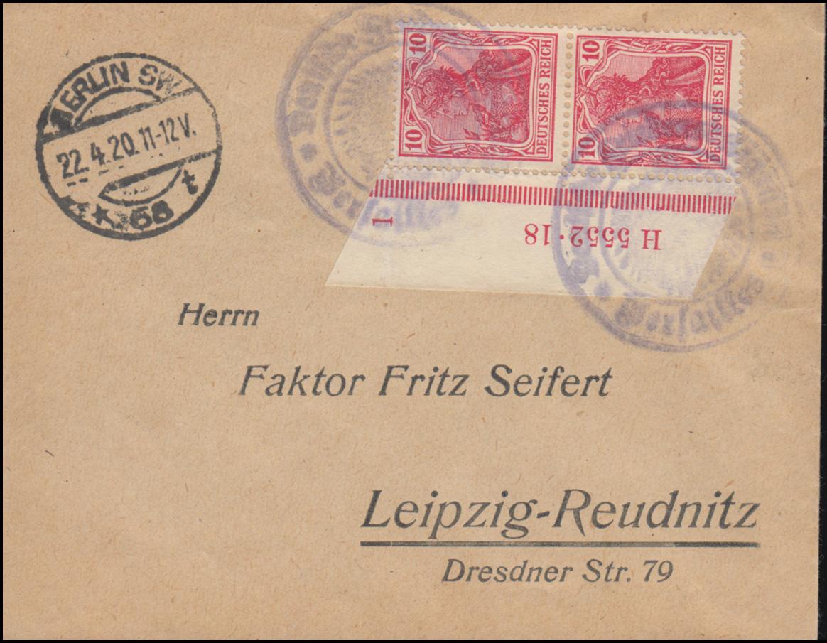 86II Germania-Paar HAN 5552.18 auf Brief Deutsche Friedensdelegation Versailles 0