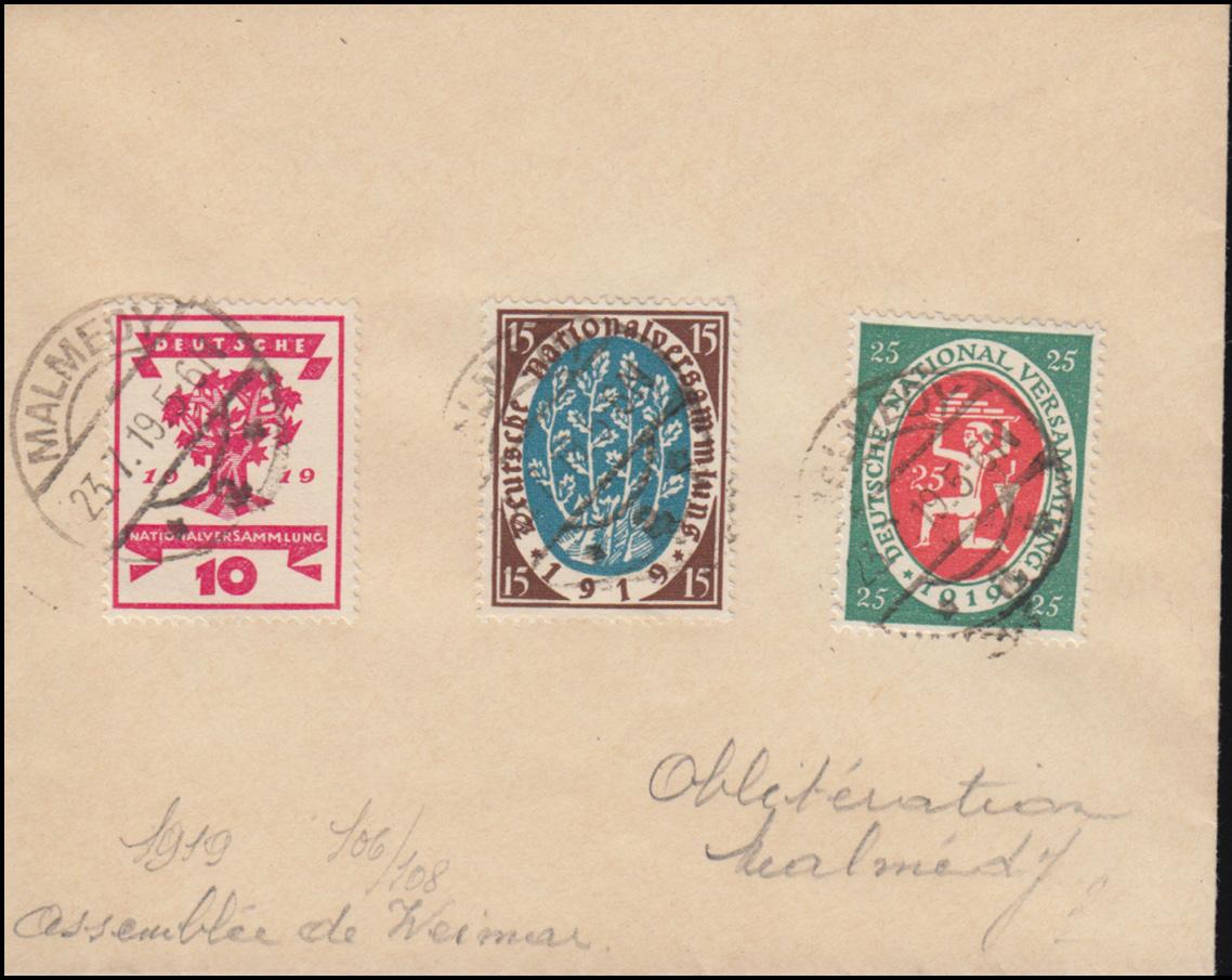 107+108+109 Nationalversammlung auf Stempelvorlage MALMEDY 23.7.1919 0