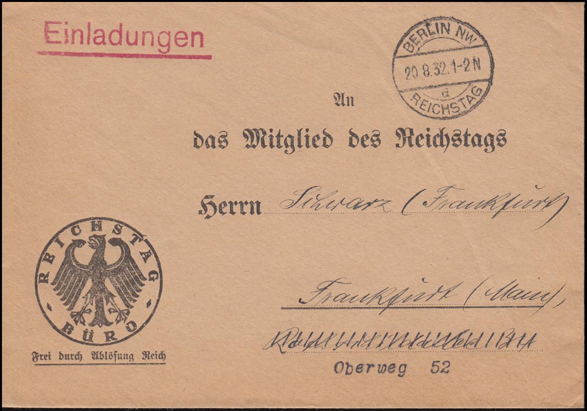 Frei durch Ablösung Reichstag Büro Brief BERLIN-REICHSTAG 20.8.1932 n. Frankfurt 0