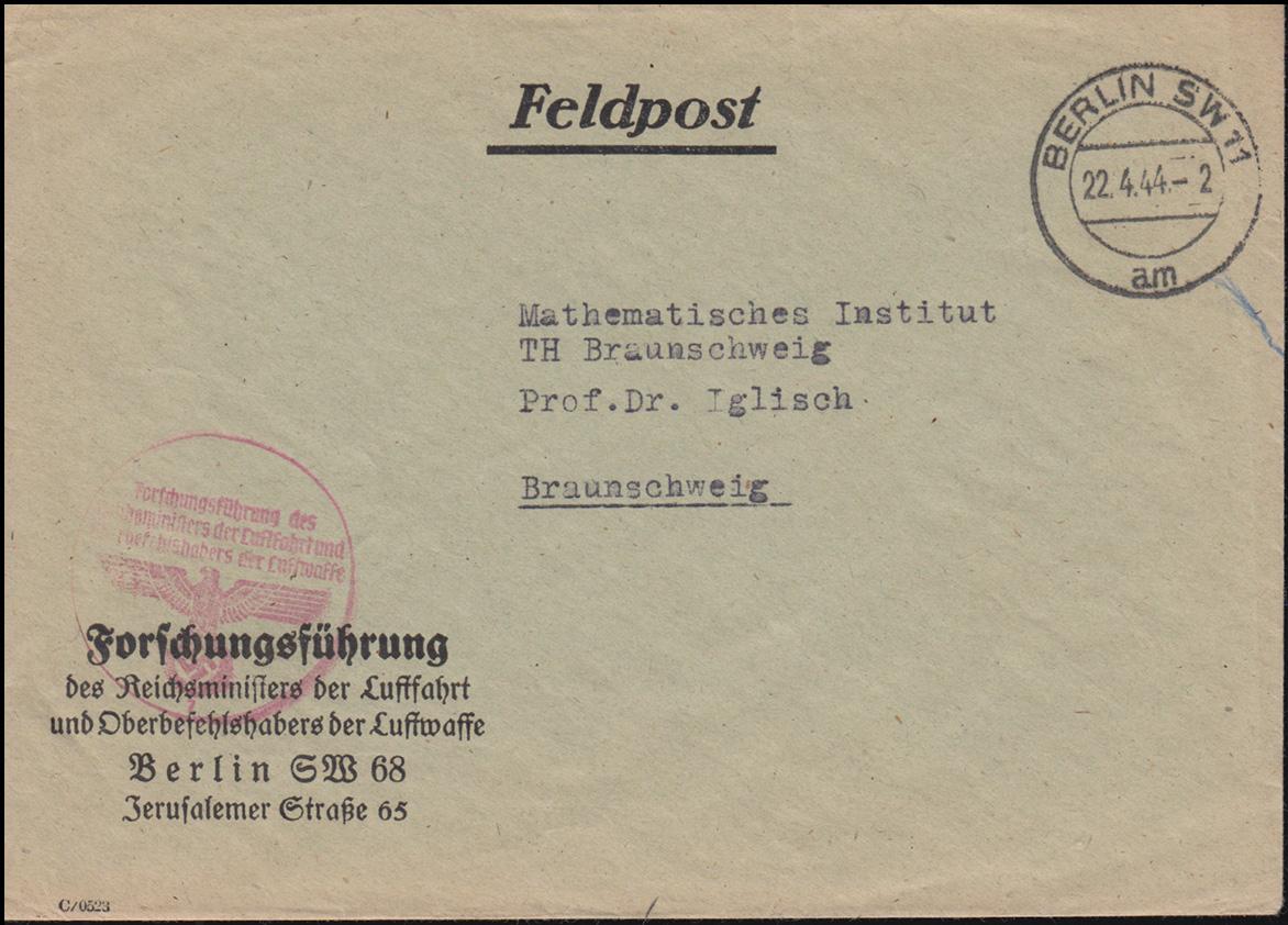 Feldpost Reichsminister Luftfahrt Oberbefehlshaber Luftwaffe BERLIN 22.4.1944 0