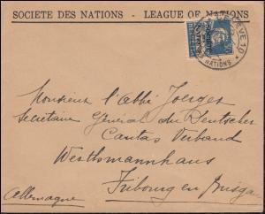 Völkerbund (SDN) 19x Tell mit Armbrust EF Brief GENF 4.4.1929 nach Freiburg
