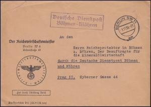 Deutsche Dienstpost Böhmen-Mähren Reichswirtschaftminister BERLIN 1.1.39 n. Prag