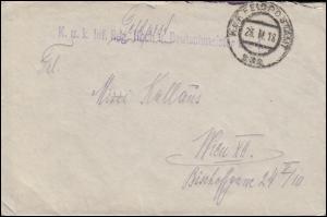 Feldpost K.u.k. Inf. Reg. Hoch und Deutschmeister Nr. 4 FELDPOST 232 - 23.11.18