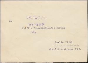 Brief um 1930: REICHSTAG PRÄSIDENT an Wolff's Telegraphisches Büro in Berlin