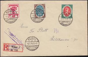 107+108+109 Nationalversammlung R-Bf. Sonder-R-Zettel WEIMAR-NATIONALV. 3.7.1919