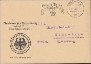 Frei durch Ablösung Reichswetteramt BERLIN 8.4.1936 Phänologische Beobachtungen