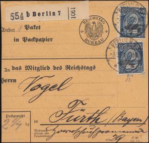 32 Dienst MeF Paketkarte Reichtstag Büro BERLIN 3.9.1921 nach Fürth, INFLA-gepr.