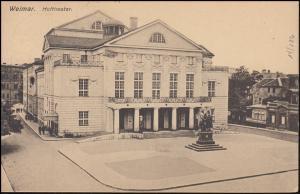 Germania 5 Pf. MeF auf AK Weimar Hoftheater, WEIMAR-NATIONALVERSAMMLUNG 14.2.19