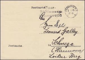 Postsache Dt. Oberpostdirektion Hannover 2.1.1935, Werbestempel Saar-Abstimmung