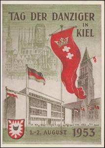 Ansichtskarte Tag der Danziger in Kiel, passender SSt KIEL 2.8.1953