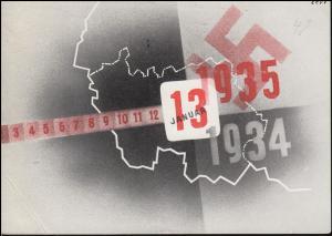 200 Volkshilfe 60 C. mit Aufdruck, SAARBRÜCKEN 13.1.1935 auf AK Volksabstimmung