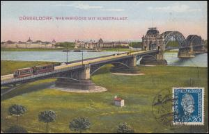 369 Weltpostverein Stephan bildseitig auf AK Düsseldorf Rheinbrücke, 13.10.1924