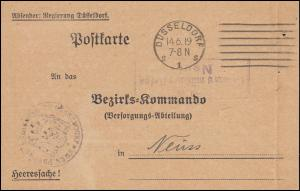 Franz. Zensur Neuss Heeressache an das Bezirkskommando Neuss, DÜSSELDORF 14.6.19