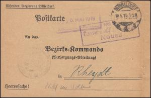 Franz. Zensur Neuss Heeressache ans Bezirkskommando Rheydt, DÜSSELDORF 18.5.19