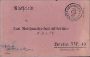 Rückschein an das Reichsarbeitsministerium in Berlin, GOMARINGEN 20.8.1920