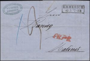 Preußen Faltbrief EMMERICH 20.5.1863, roter Transit PR nach MALINES 21.5.