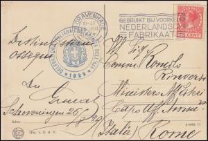 AK Den Haag Briefstempel Italienische Delegation für Aja, s'GRAVENHAGE 26.08.29