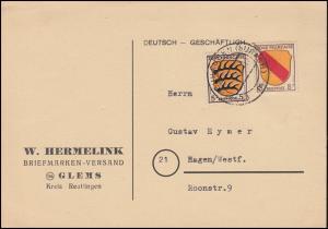 3+6 Freimarken Wappen-MiF auf Postkarte NEUHAUSEN (URACH) 1947 nach Hagen
