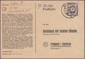 Postkarte Suchdienst der Inneren Mission in Freiberg / Sachsen, ZITTAU 15.12.45