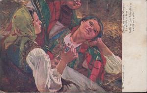 Polnische Künstlerkarte Wodzinowski K.u.K.-Feldpoststempel Rzeszow 4.9.1916