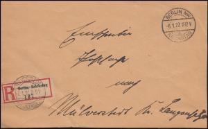 R-Dienst-Briefausschnitt REICHSTAG BERLIN 6.1.27 nach MÜLVERSTEDT Langensalza