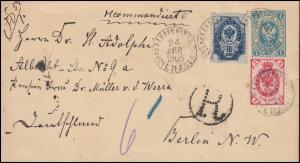 Russland R-Ganzsache U 33A mit Zusatzfr. 31+41 am 24.4.1895 nach BERLIN 9.5.1895