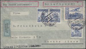 309 Flugzeug über Hradschin mit 376 Luftpostbrief JABLONEC / GABLONZ 19.11.1937