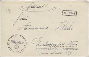 Feldpost Briefstempel Feldpost-Nummer 41462 Brief mit Inhalt Tarnstempel 18.1.-0