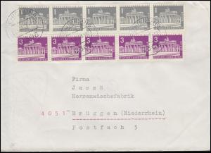 140y+231 Berliner Bauten waagerechte 5er-Streifen MiF Brief SCHIERLING 31.10.63