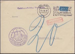 Gebührenpflichtige Dienstsache Bundeskanzleramt Brief mit Notopfer BONN 8.4.1954