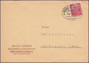 Bahnpost NÜRNBERG-FÜRTH ZUG 1580- 25.7.56 Brief von Kirchensteinbach nach Rheydt
