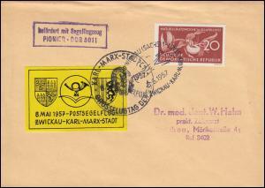 Befördert mit Segelflugzeug PIONIER DDR 3011 Brief mit 563 SSt ZWICKAU 8.5.1957