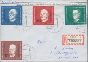 554-557 Satz aus Block 4 Konrad Adenauer auf Orts-R-Brief SSt STUTTGART 29.4.68