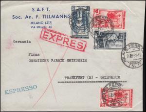 Bahnpost BASEL-FRANKFURT/MAIN ZUG 73 - 27.9.52, Italien-Brief MILANO 26.9.1952