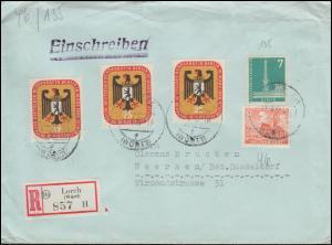 46 Bauten + 135 Stadtbilder + 3mal Bundesrat als MiF auf R-Brief LORCH 13.4.1956
