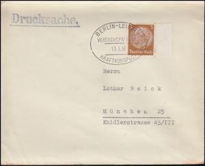 513 Hindenburg Drucksache SSt BERLIN-LEIPZIG VERSUCHSFAHRT KRAFTKURSPOST 13.6.36