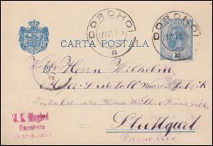 Rumänien Postkarte P 33 König Karl I. von DOROHOI 27.10.1895 nach Stuttgart