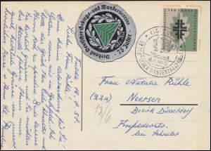 292 Turnen EF auf AK Gebirgs- und Wanderverein mit Vignette SSt FULDA 10.8.1958