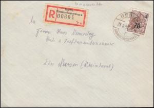 442 Fünfjahrplan mit Aufdruck als EF auf R-Brief BERLIN-BAUMSCHULENWEG 25.8.1955