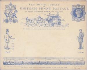 Großbritannien Umschlag 11 Jubiläumsumschlag MIT Karte 1890, ungebraucht