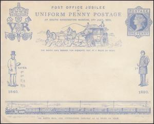 Großbritannien Umschlag 11 Jubiläumsumschlag OHNE Karte 1890, ungebraucht