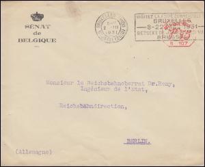 Belgien: Freistempel B 107 Senat von Belgien auf Brief BRÜSSEL 2.3.1931