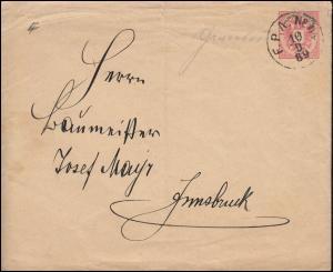 Österreich Umschlag U 63a Doppeladler mit Wasserzeichen F.P.A. 10.9.1889