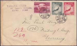 Japan: 464-466 Weltpostverein 75 Jahre UPU, 3 Werte auf Brief TOKIO 29.10.1949
