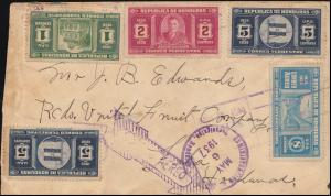 Honduras: Luftpostbrief mit 332+333+334+336 Sondermarken TEGUCIGALPA 6.5.1937