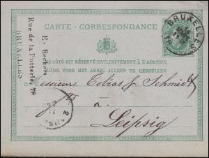 Belgien Postkarte P 9 von BRÜSSEL 14.3.1877 nach Leipzig 15.3.