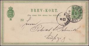 Dänemark Postkarte 10 Öre grün KOPENHAGEN 11.12.1877 nach Leipzig 13.12.