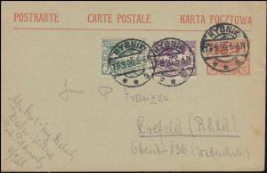 Oberschlesien Postkarte P 3 mit passender Zusatzfr. RYBNIK 17.9.20 nach Krefeld